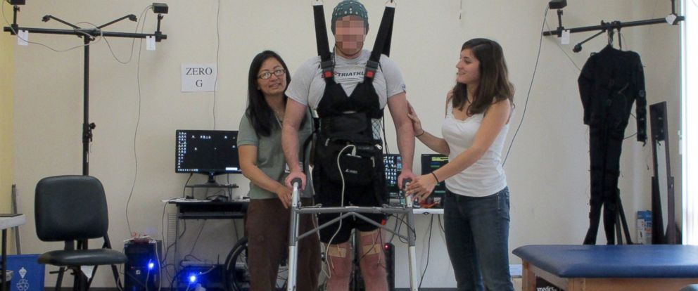 PHOTO: A paraplegic man was able to walk again after researchers used a computer to stimulate electrical signals.