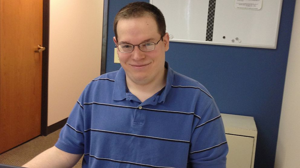 PHOTO: Autism made it hard for Phillip Griffin, 22, to find a job, but now he works at a software company in Illinois.