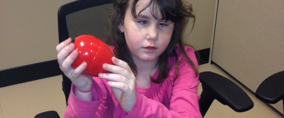 PHOTO: Rachel Hyche, 10, holds a beeping Easter egg.
