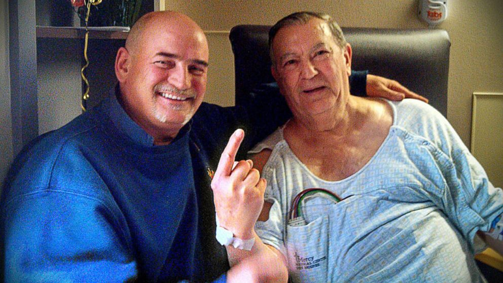 PHOTO: Tony Collins, left, an assistant fire chief for Clive Fire Department, visited Don Roese in the hospital days after saving his life by administering CPR at a Waukee, Iowa pub.