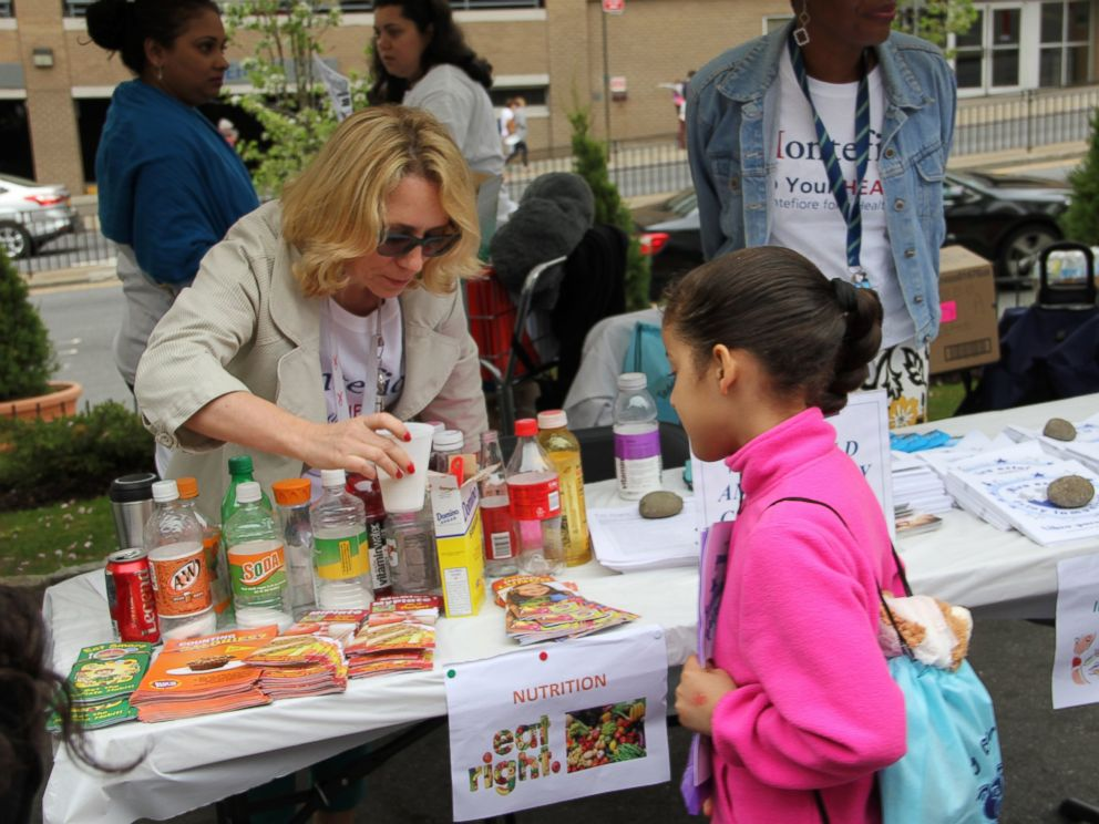 PHOTO: A young girl learns about nutrition at the Teddy Bear Hospital.