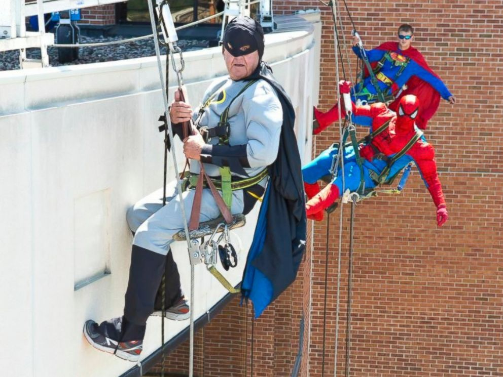 PHOTO: These window washers took a break from their day jobs to dress up as superheroes