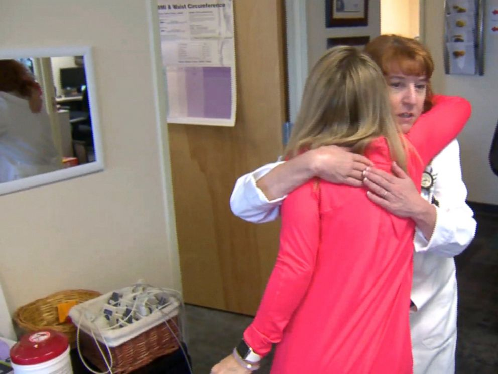 PHOTO: Kristen Patton hugs her physician Dr. Mary Beth Cishek, who treated her.