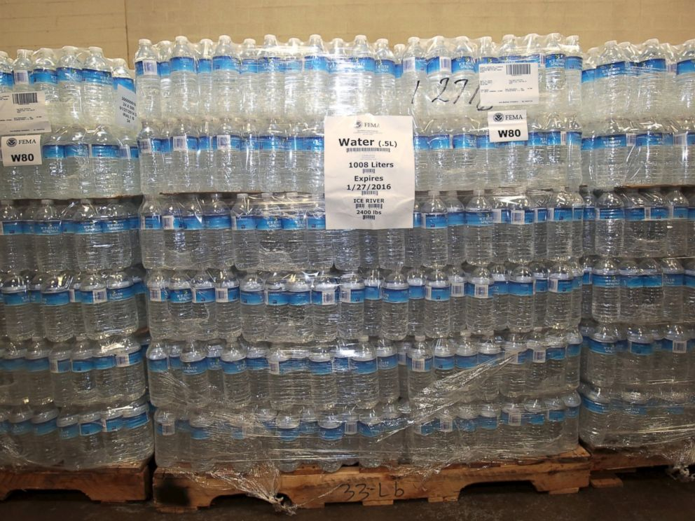 PHOTO: The Food Bank of Eastern Michigan holds stacks of bottled water in the agencys warehouse that will be distributed to the public, after elevated lead levels were found in the citys water, in Flint, Mich. Dec. 16, 2015.