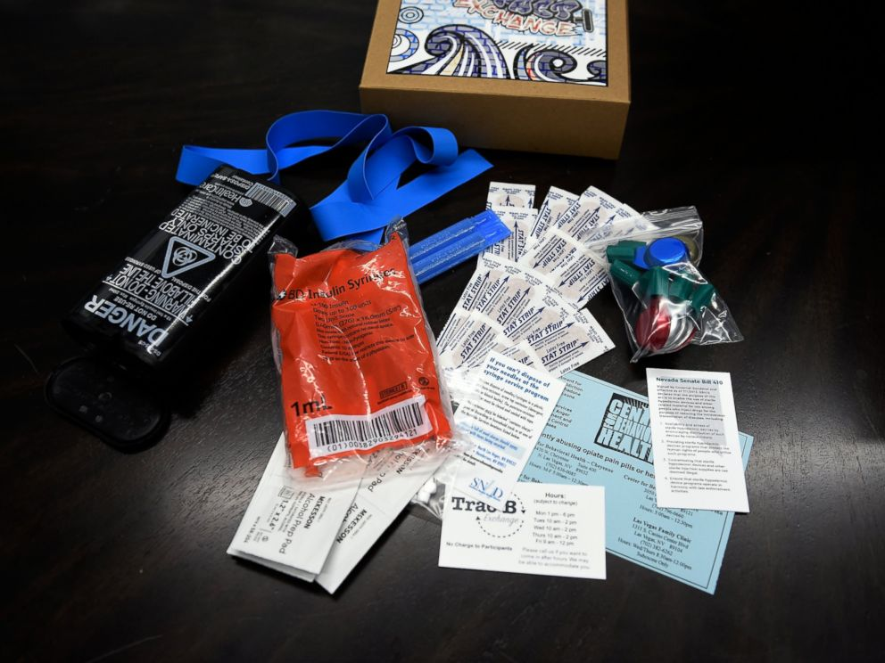 PHOTO: Shown here are the contents of a needle replacement kits that are now available from a vending machines. Users will have to register to receive a swipe card and unique identification number that they can use to receive up to two free kits per week.