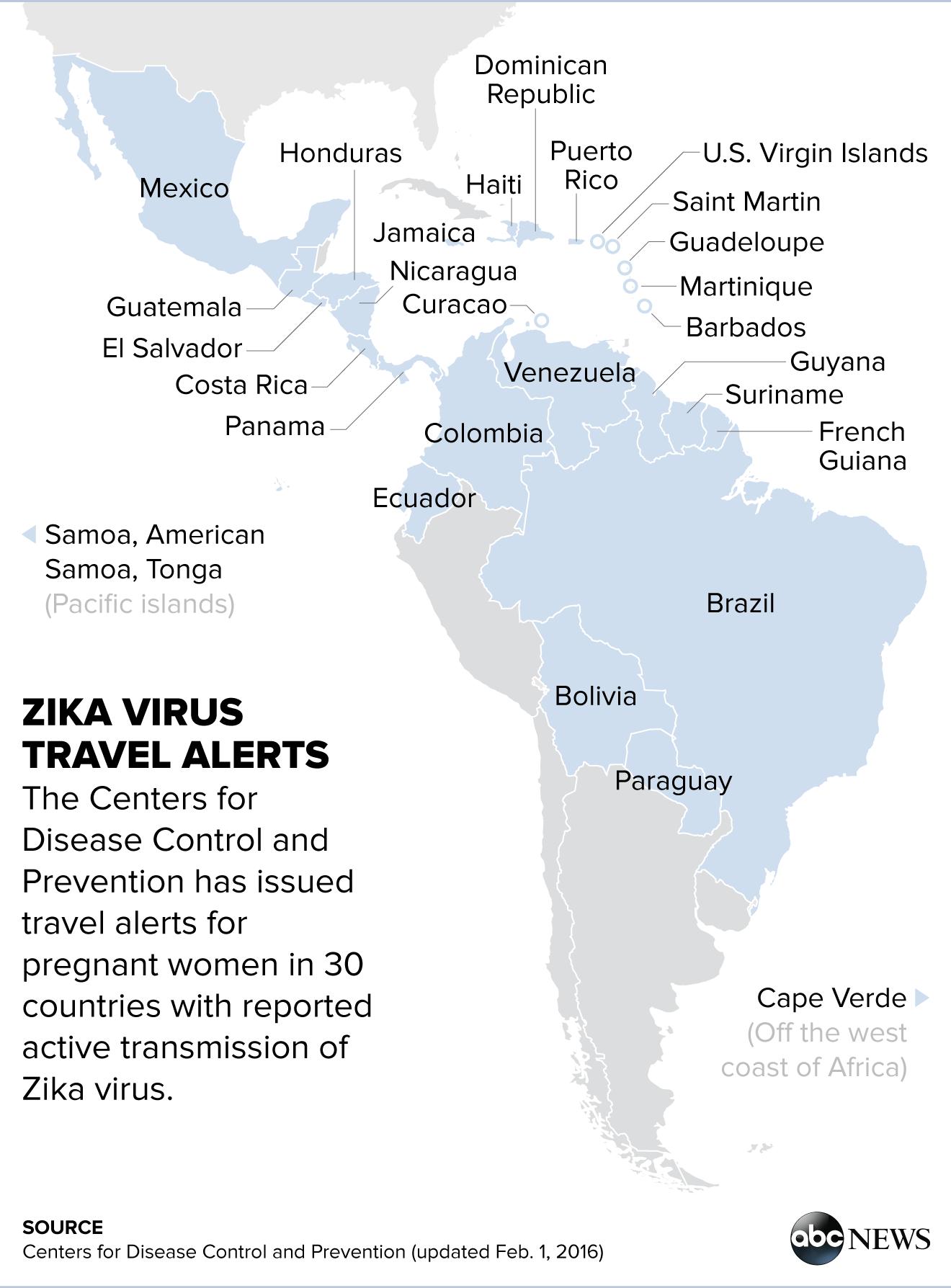 Zika Virus Outbreak Updates China Reports First Case ABC News - Us zika map