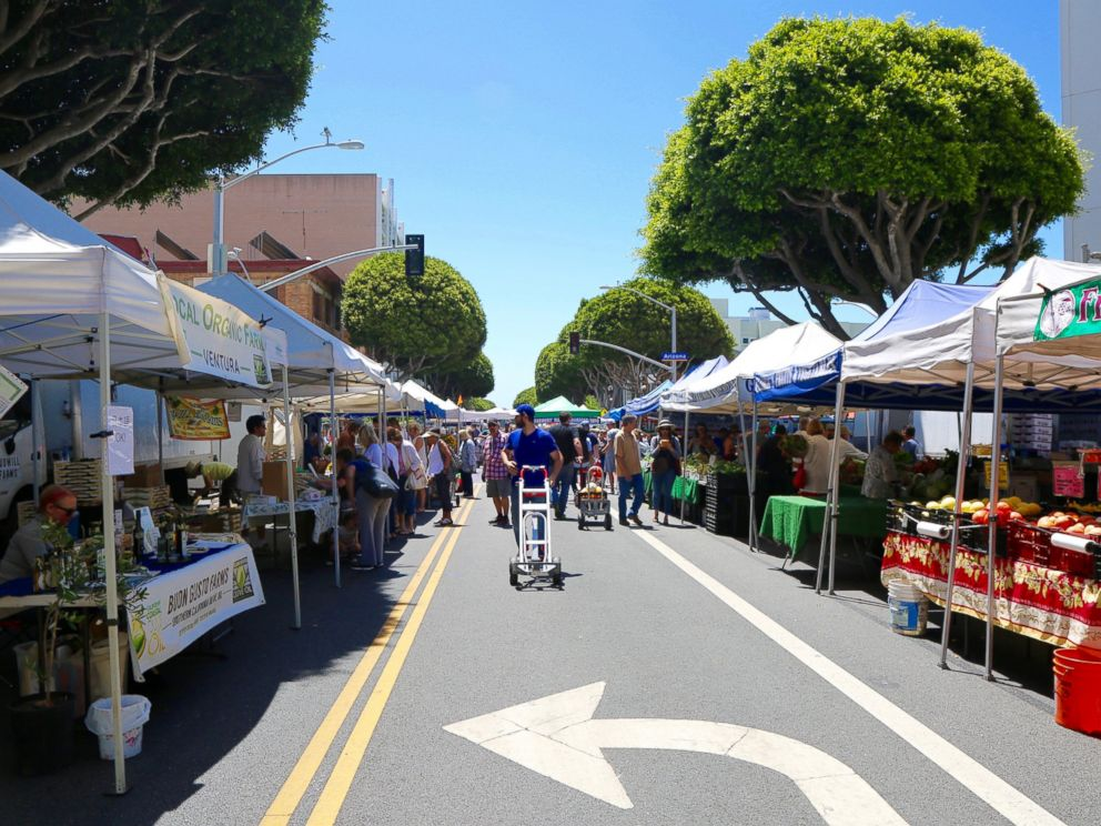 PHOTO: The Santa Monica Farmers Market in Los Angeles, seen here on June 14, 2017, started in 1981.