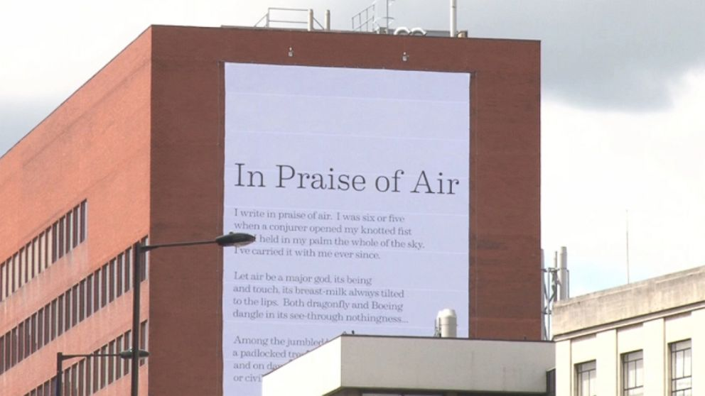 "Simon Armitages poem ""In Praise of Air"" is printed on material that is coated with pollution-eating particles."