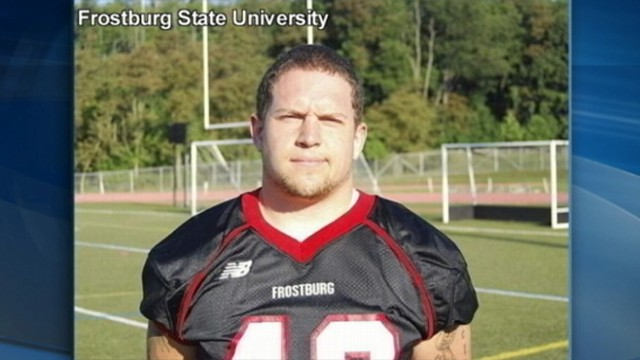 VIDEO: Frostburg State University senior Derek Sheely, 22, collapsed during practice.