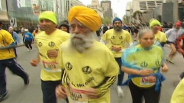 VIDEO: Fauja Singh ran the Toronto race in eight hours and 25 minutes.
