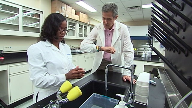 PHOTO: ABC News' Chief Medical Editor Dr. Richard Besser, along with six students from the University of Maryland, tested hand sanitizes in the university's food safety lab to figure out which products worked the best.