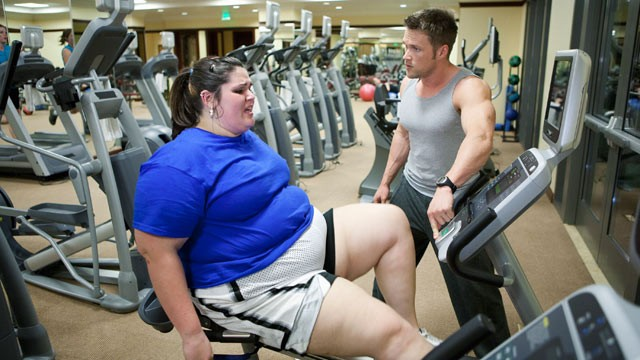 PHOTO: Trainer and transformation specialist Chris Powell takes on proverbial over-achiever Rachel.