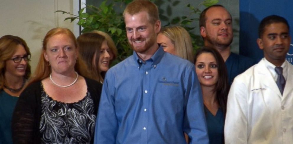 PHOTO: Dr. Kent Brantly, who contracted Ebola while in Africa, gives an update on his condition at a press conference at Emory University Hospital in Atlanta, Aug. 21, 2014.