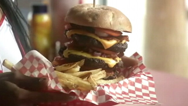 "VIDEO: Heart Attack Grill in Las Vegas offers customers a ""Quadruple Bypass"" burger."