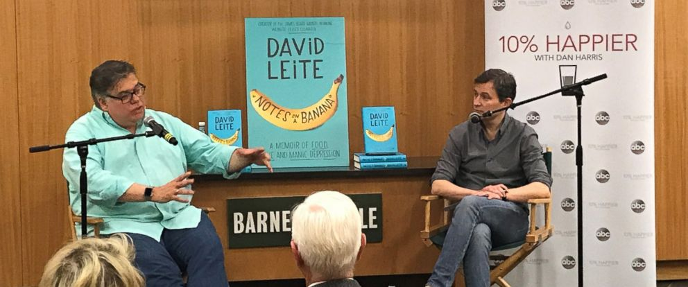 """Author David Leite, left, is seen here with ABC News Dan Harris, right, during a live discussion for the """"10% Happier"""" podcast."""