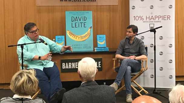 Author David Leite, left, is seen here with ABC News' Dan Harris, right, during a live discussion for the
