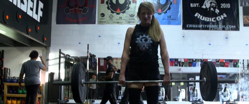 "Lindsay Ess, a double hand transplant recipient turned Crossfit competitor, is shown here during an interview with ""Nightline."""