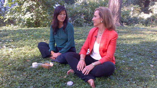 "PHOTO: ABC's Juju Chang and Dr. Pam Peeke meditating over their ""food fixes"" -- cheese and cupcake -- in an effort to stave of cravings mentally."