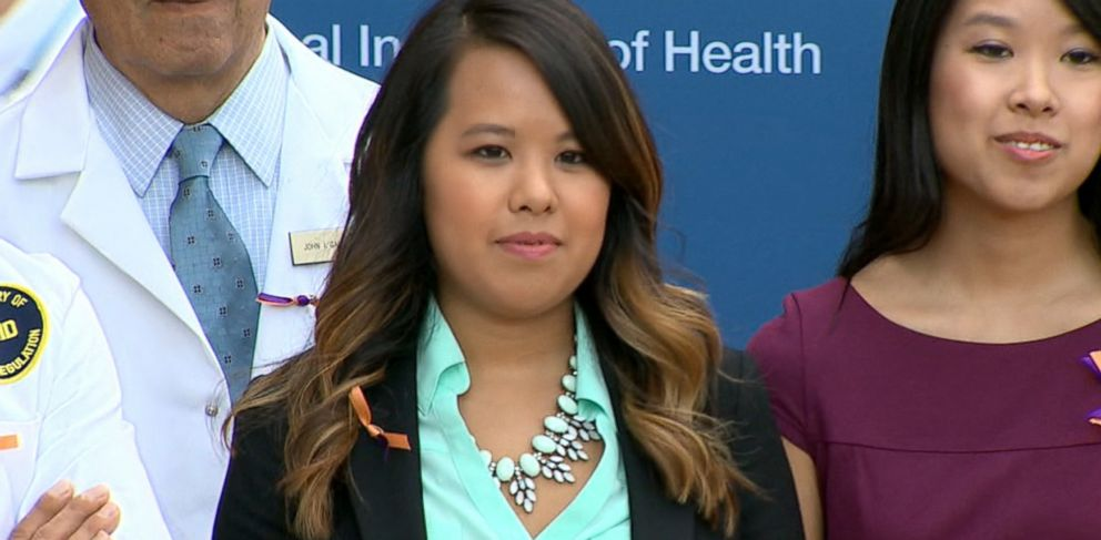 PHOTO: Ebola survivor Nina Pham appears at a press conference after she was discharged from the hospital on Oct. 24, 2014.