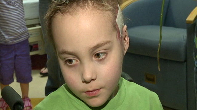 PHOTO: Seven year old boy, Robert Maddox who was hospitalized for over a year with the H1N1 was released from New Orleans Childrens Hospital.