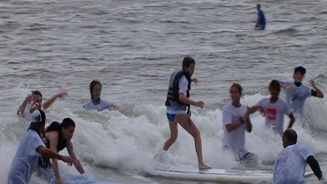 PHOTO:&nbsp;Surf for All, an organization in Long Beach, N.Y., is helping blind teens surf.