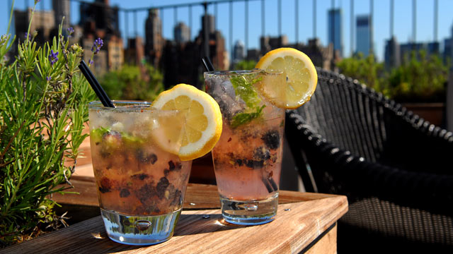 PHOTO: The Surrey Hotel's Roof bar, 'BlueBasil' cocktail is seen here in both high and lower calorie options.