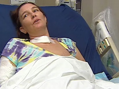 Video: Mother recovers from rare flesh-eating disease.