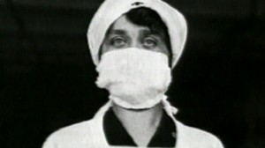 VIDEO: A nurse uses a mask during the 1918 flu epidemic.