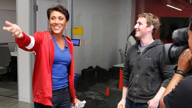 PHOTO: Robin Roberts talks to Mark Zuckerberg, the founder and CEO of Facebook, for an interview airing May 1, 2012 on Good Morning America.