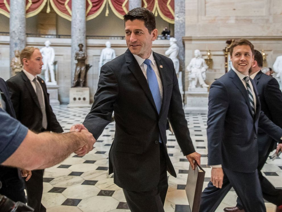 PHOTO: House Speaker Paul Ryan of Wis. greets guests as he walks to the House Chamber on Capitol Hill in Washington, Thursday, May 4, 2017.