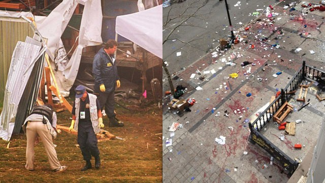 PHOTO: (Left) Federal agents search the site where a bomb exploded at the Centennial Olympic Park in downtown Atlanta on July 27, 1996. (right) The scene after two explosions occurred during the 2013 Boston Marathon in Boston, April 15, 2013.