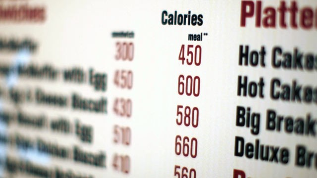 PHOTO: A McDonald's drive-thru menu in New York shows the calorie counts for each food item.