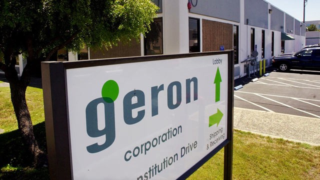 PHOTO: This Aug. 10, 2001 file photo, shows the exterior of stem cell research leader Geron Corporation, a biotechnology firm, in Melo Park, Calif.