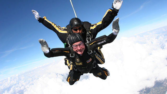 PHOTO: In this photo provided by the U.S. Army Golden Knights, Former President George H.W. Bush is shown during his free fall with U.S. Army Golden Knights parachute team member, Sgt. 1st Class Mike Elliott, as he made his entrance to his presidential mu