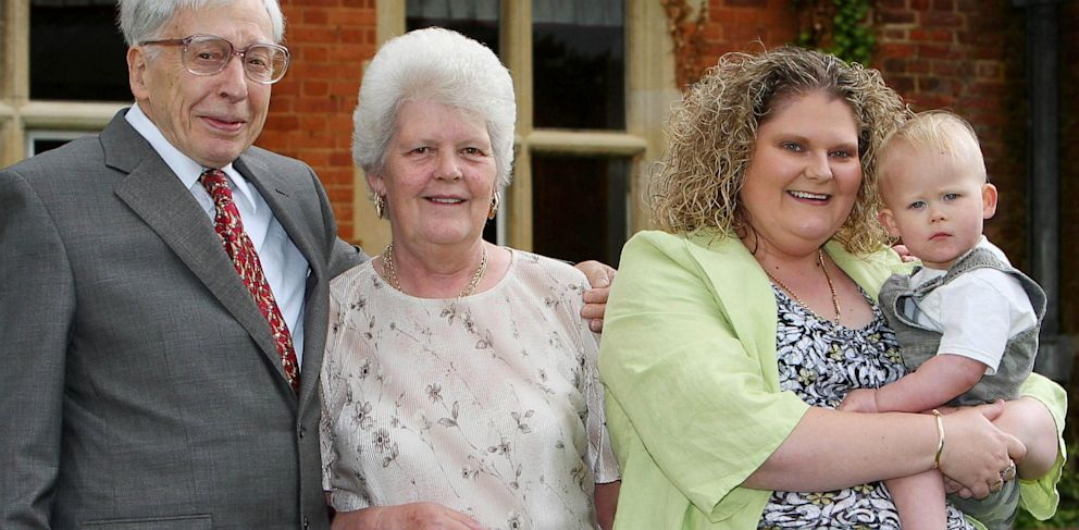 PHOTO: Louise Brown with son Cameron, mother Lesley and Prof. Robert Edwards
