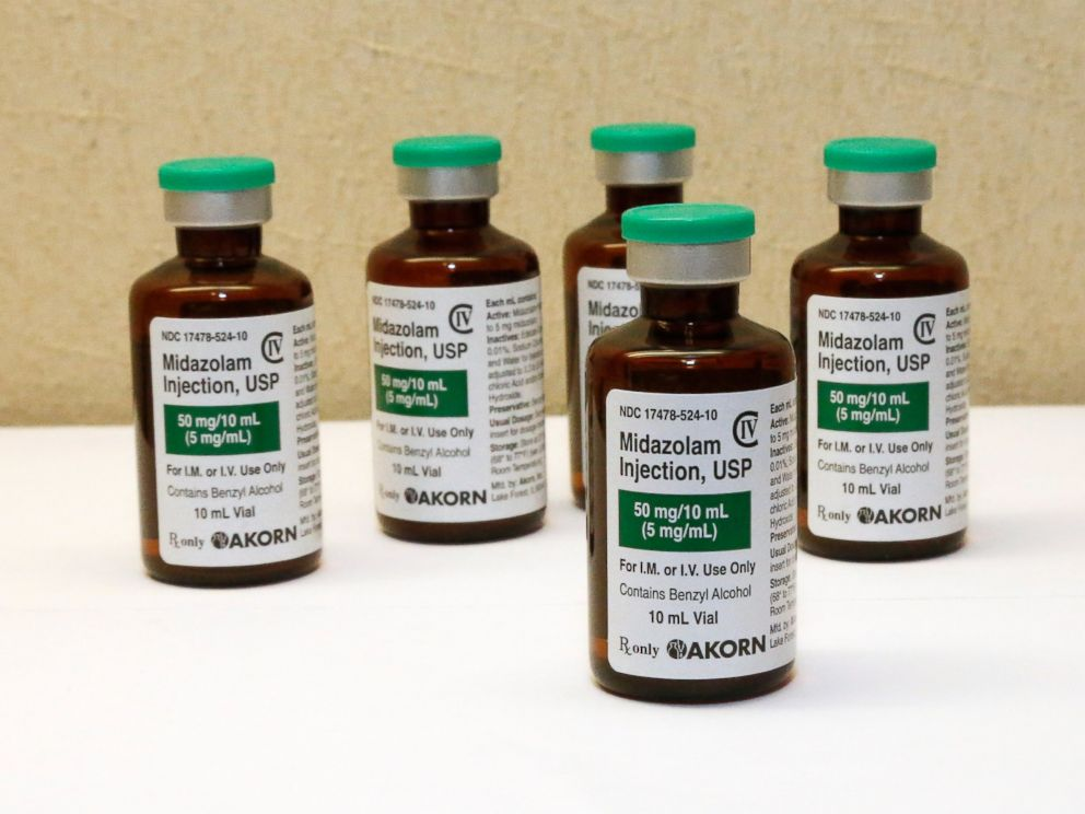 PHOTO: This July 25, 2014 file photo shows bottles of the sedative midazolam at a hospital pharmacy in Oklahoma City.