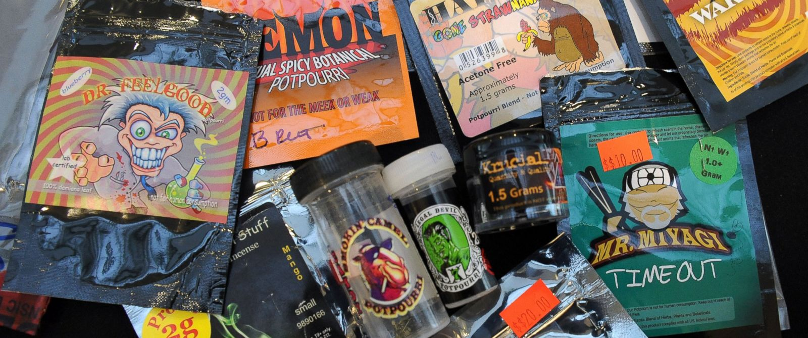 PHOTO: This June 1, 2012 file photo shows a variety of synthetic designer drugs including synthetic marijuana.