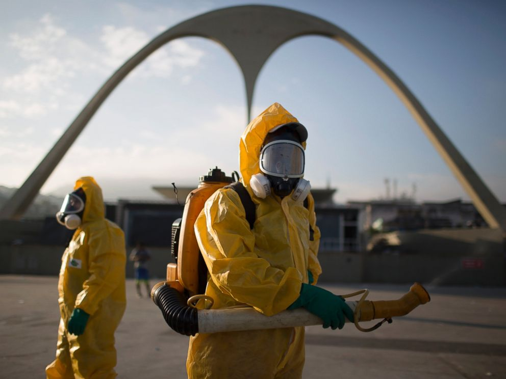 PHOTO: Health workers stand in the Sambadrome while spraying insecticide to combat the Aedes aegypti mosquitoes that transmits the Zika virus in Rio de Janeiro, Brazil, Jan. 26, 2016.