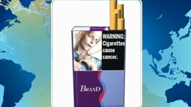 VIDEO: Cigarette health warnings include images of cancer patients and rotting teeth.