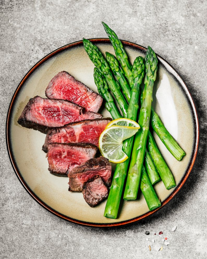 PHOTO: Sliced steak with asparagus is a healthy meal for someone on a keto diet.