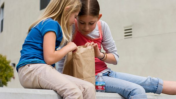 PHOTO: Girls looking in lunch bag