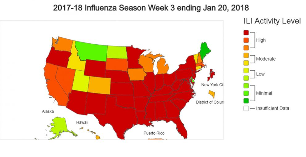 PHOTO: A map posted by CDC showing 2017-2018 influenza season week 3, Jan. 20, 3018.