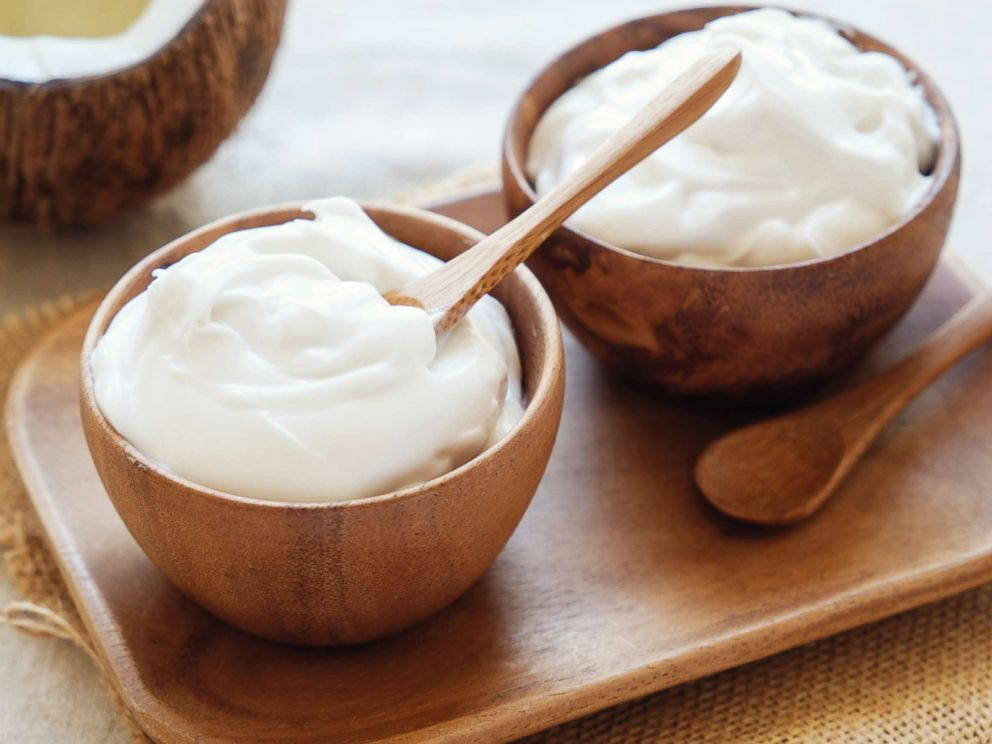 PHOTO: Dairy free organic coconut yogurt in wooden bowl is pictured in this undated photo.