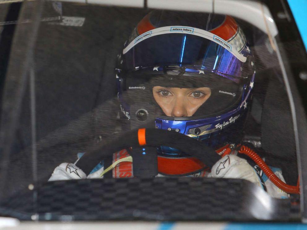 PHOTO: Danica Patrick waits in her car during practice for Sundays NASCAR Daytona 500 Sprint Cup series auto race at Daytona International Speedway in Daytona Beach, Fla., Feb. 19, 2016.