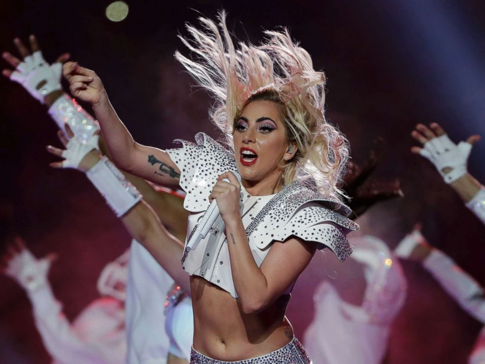 PHOTO: Lady Gaga performs during the halftime show of the NFL Super Bowl 51 football game between the New England Patriots and the Atlanta Falcons in Houston, Feb. 5, 2017.