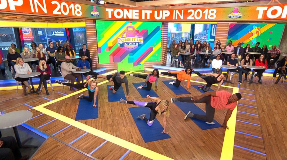 PHOTO: Celebrity trainer Tracy Anderson demonstrates an at-home exercise on Good Morning America.