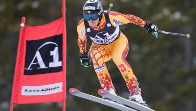 PHOTO: John Kucera of Canada flies through the air during FIS World Cup Men's Downhill training Nov. 25, 2009 at Lake Louise, Alberta.