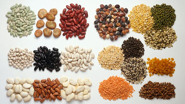 PHOTO: A variety of beans including lentils and peas are vegetarian protein sources.