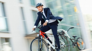 PHOTO: Man biking to work
