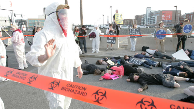PHOTO: The Stop the Biolab Coalition conducts a peaceful protest near the Institute of Contemporary Art in Boston, Mass., May 7, 2007.